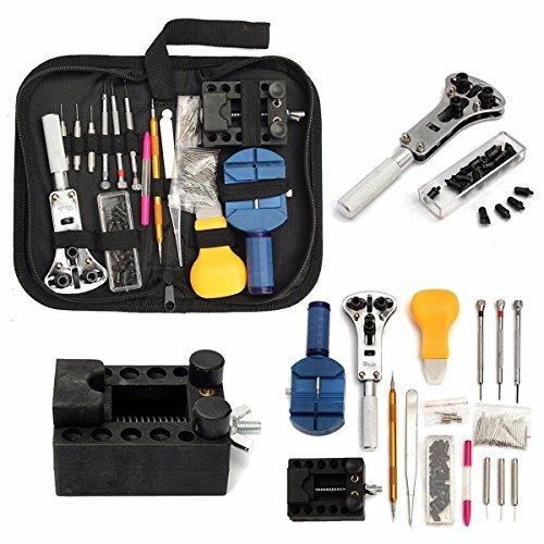 Towinle Uhr Reparaturset Uhrenwerkzeug Set Uhrmacherwerkzeug mit Tragbar Nylontasche Profi Watch Tool 147tlg - Uhr-kits Zahlen Mit