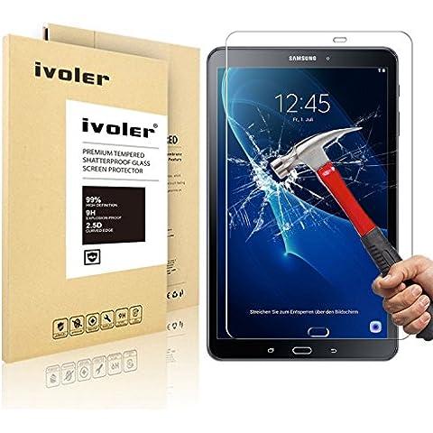 Samsung Galaxy Tab A 10.1'' 2016 (SM-T580N) Protector de Pantalla Cristal, iVoler® Film Protector de Pantalla de Vidrio Templado Tempered Glass Screen Protector para Samsung Galaxy Tab A 10.1'' 2016 (SM-T580N) - Dureza de Grado 9H, Espesor 0,30 mm, 2.5D Round Edge-[Ultra-trasparente] [Anti-golpe] [Ajuste Perfecto] [No hay Burbujas]- Garantía Incondicional de 18