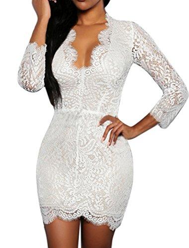 sourcingmap Femme Dos Ouvert Découpée Garniture Lacets Mini Robe Moulante Blanc