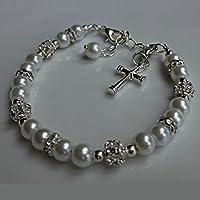 Pulsera de la primera comunión, regalos, las niñas Charm Bracelet Perlas Joyas