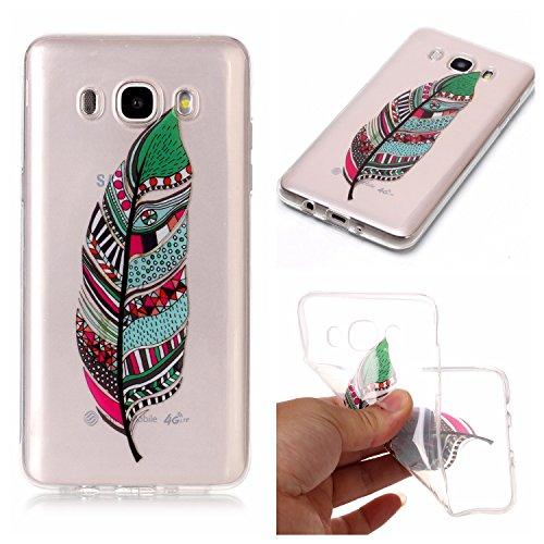 Preisvergleich Produktbild Galaxy J7 2016 Hülle, Anlike Samsung Galaxy J7 2016 /SM-J710 (5,5 Zoll) Handy Hülle [Bunte Muster Design] Schutzhülle - Farbige Federn