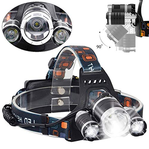 Profi Police LED Cree Stirnlampe Kopflampe Taschenlampe Lampe 8000LM 3x XM-L T6 inkl.2x PowerAkku