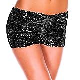 YiZYiF Damen Pailletten Shorts Elastische Shorty reizvolle Glitzer Party Tanz Kurz Hosen Club Tanz Kostüm Schwarz One Size