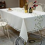 Amcerd Tischwäsche, Leinen Abwaschbar Wasserabweisend Für Home Küche Dekoration, Verschiedene Größen - Grün 135x275cm