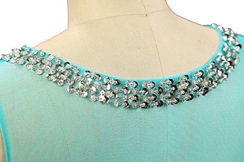 Vantexi Damen Wulstige Chiffon Lang Abendkleid Ballkleid Blau