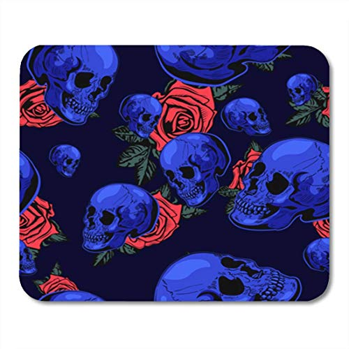 Gaming Mauspad Roses Halloween Scary with The Skull Anatomy Black Bone Brutal Cartoon Cracked 11.8