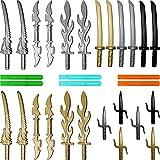 GALAXYARMS 30-teiliges Waffenset: Ultimate Ninja Waffenset Set 17.1 mit Drachenkopfschwertern, Doppelklingenschwertern, Flammenschwertern, Katanas, Saigabeln, Schwertklingen. Geeignet für Deine LEGO Ninjago Figuren