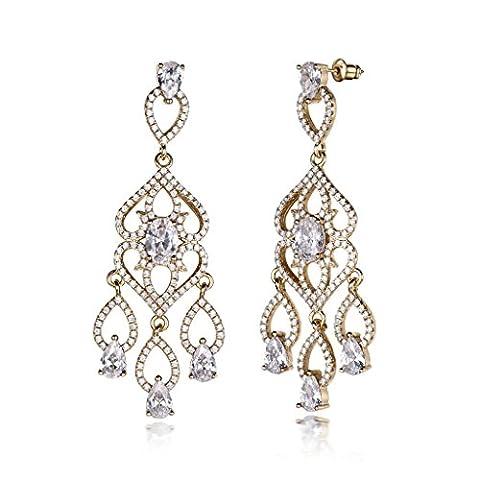 GULICX Gold-Ton Groß und lang Ohrringe Tropfen Chandelier Weiß Zirkonia Blumen Ohrhänger Für Braut