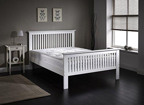 Shaker-stil Holz (FurnitureDepot1 Traditionelle Weiß Holz Bett im Shaker-Stil in Standard Doppelbett 1,40m)