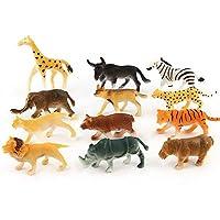 joizo 12pc Animals Figure Toy Childrens Assorted Plastic Toy Mini Wild Animals Jungle Zoo Figure Educational Creativity Animal Model for Children