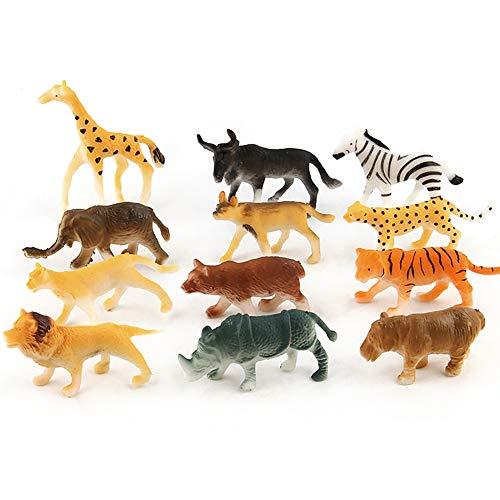 12pc Animales Childrens figura de juguete para niños de juguete de plástico Surtido de Mini salvajes animales de la selva Zoo Figura Educativo Creatividad Animal Figura Navidad el mejor regalo para bebés de los muchachos (multicolor)