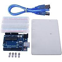 Para Arduino, Kuman Uno R3 Placa ATmega328P + Acrílico transparente R3 placa base + Placa de Pruebas de Optimizador Terminal con cable USB Compatible con UNO R3 Mega 2560 Nano Robot Actualizada 4 en 1 conjunto K68