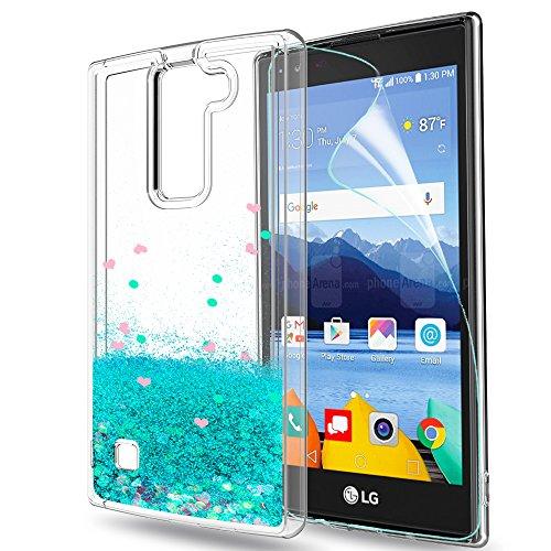 LeYi Hülle LG K8 2016 Glitzer Handyhülle mit HD Folie Schutzfolie,Cover TPU Bumper Silikon Flüssigkeit Treibsand Clear Schutzhülle für Case LG K8 2016 Handy Hüllen ZX Turquoise