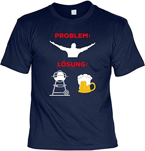 Grill Shirt Geschenkidee Grillen T-Shirt Problem Lösung Grill Party Geschenk zur Grillsaison Navyblau