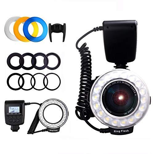 WQYRLJ Angeführt Makro Blitz LED Ring, Blitzgerät Mit LCD Display Für Canon Nikon Olympus Sony DSLR-Kameras (Mit 8 Adapter)