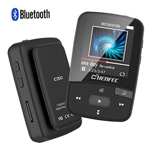 CFZC MP3-Player mit Bluetooth, 8GBit-Bluetooth-MP3-Player mit Clip, unterstützt FM-Radio, erweiterbarer Mikro-SD-Steckplatz, unterstützt 64GBit Schwarz  - Sansa Mit Mp3-player Bluetooth