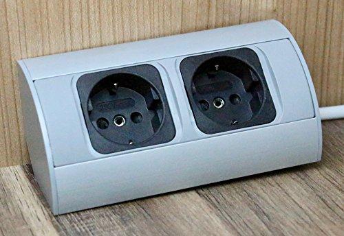 Praktische Eck-Steckdose 2x Schuko, Aluminium, für Küche, Bad, Wohnzimmer, Möbel. Doppelsteckdose...