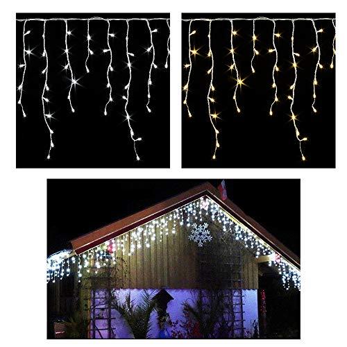 600 / 400 LED **PREMIUM** Eisregen Lichterkette ges. 20m / 15m mit 8 Funktionen / Effekte (Flash bis Standlicht ect.) + Timer warmweiss oder kaltweiss Eiszapfen Effekt IP44 Weihnachtsbeleuchtung-Weihnachtsdeko-Eisregenkette (400 LED WARMWEISS) (Wieder Fallen Vorhang)