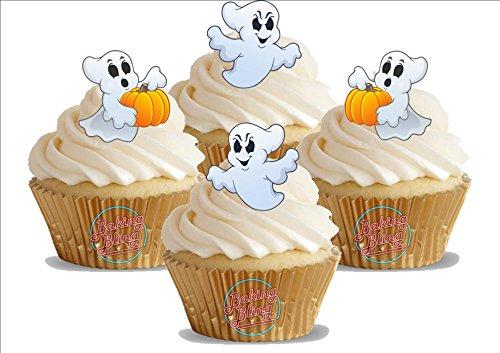 HALLOWEEN Casper Geist Kürbis Mix 12 essbare Standup Kuchen-Deko, Kuchendekorationen, essbar, Premium, 2 x A5, für 12 - Essbar Halloween-kürbisse