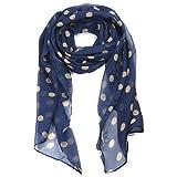 TRIXES, Elegante foulard in seta a pois color crema su sfondo blu marino