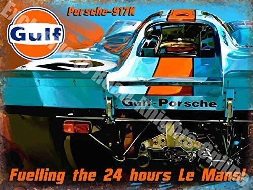 RKO Gulf Porsche 917K Rennwagen Le Mans Metall/Stahl Wandschild - 9 x 6.5 cm (Magnet)