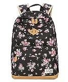 SAMGOO Vintage Mode Damen Leinwand Einfache Blumen Schultertasche Freizeitrucksack Tasche Rucksäcke (Schwarz)