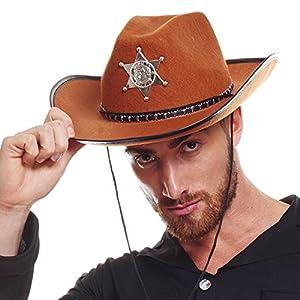 AEC-chapeau de Sheriff disfraz, unisex adulto, aq04720, marrón, talla única