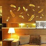 Acryl- Wandaufkleber Dreidimensional Feder Spiegel Paste Wohnzimmer Sofa Hintergrundwand Dekoration,Gold
