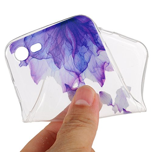 Custodia iPhone 7, iPhone 7 Cover Silicone, SainCat Cover per iPhone 7 Custodia Silicone Morbido, 3D Design Ultra Slim Transparent Silicone Case Ultra Sottile Morbida Transparent TPU Gel Cover Case Sh Petali Viola