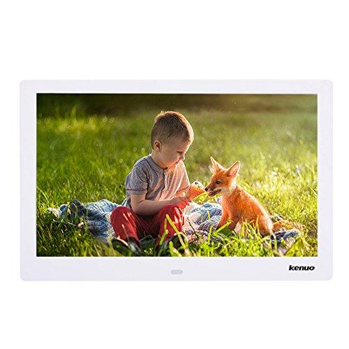 """Digitaler Bilderrahmen, 13.3"""" Full IPS Foto/Musik / Video Player Kalender Alarm Auto on/Off Timer, mit 1280 * 800 Auflösung Digital-Foto Ultra Slim Design mit Fernbedienung von KENUO,Weiß"""