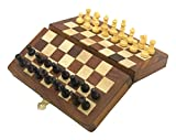 """Ages Behind Wooden Folding Chess Board small with Magnetic Chess pieces Travel Game 7"""" x 7"""" Travelling Games"""