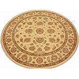 Runder Orientteppich Ziegler ca. 184 cm Ø Beige - feine Qualität - moderner Teppich - oriental round carpet best quality