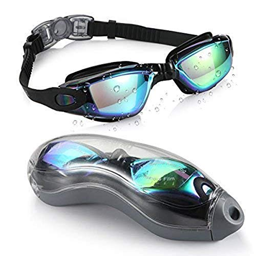 Titir Unisex Adult's Outdoor Swimming Waterproof Anti-Fog Anti-UV Goggles with Protective Cover (Dazzling Black)