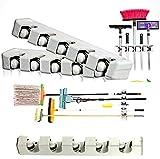 2 Stück Gerätehalter Wandhalterung STAR-LINE® für Besen, Mopp und Gartenwerkzeuge, Ordnungsleiste Werkzeughalter mit 5 Haken und 5 Schnellspann Rollen