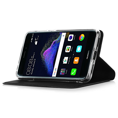 Huawei P8 Lite 2017 Cover - IVSO Slim Flip Cover Custodia per Huawei P8 Lite 2017 Smartphone (Flip Series - Nero)