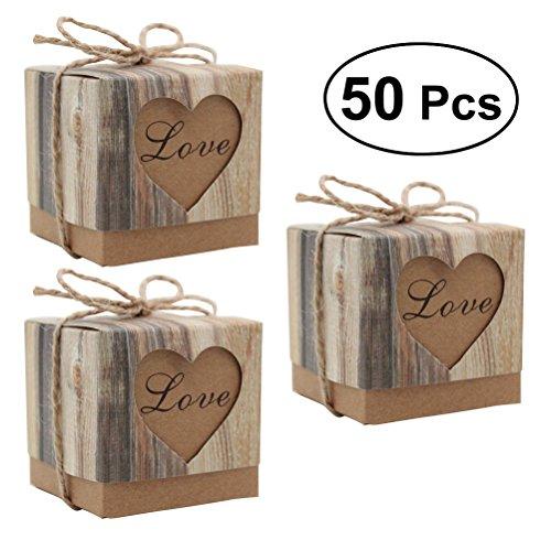 Scatole di caramelle di nozze tinksky fai da te cuscino d'amore scatole di carta regalo di caramelle vintage bomboniere 50pcs / pack