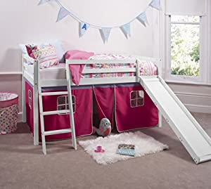 Noa and Nani Cabin Bed White Mid Sleeper Bunk with Slide Pink Tent 6007WHITE