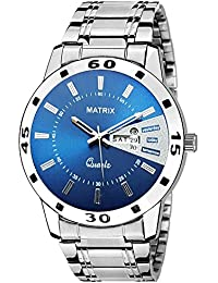 Matrix Silvermine Analog Blue Dial Wrist Watch Day And Date Display For Men & Boys- (DD10-BL-ST)