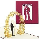 PaperCrush® Pop-Up Karte Hochzeit Brautpaar (Rot) - Besondere 3D Hochzeitskarte, Glückwunschkarte zur Hochzeit - Handgemachtes Hochzeitsbillet inkl. Umschlag