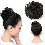 Wendy Cheveux ondulés Chouchou Bun Updo Postiche Extensions de cheveux naturels ruban Queue de cheval Noir Couleur