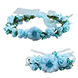 SZTARA Fashion Flower Garland Handmade Fabric Rose Beaded Wedding Party Ribbon Headband Wrist Band Set for Teens Brides Bridemaid Girls Blue