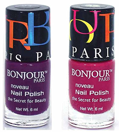 Color Fever Premium Nail Polish, Blacky/Plum, 12ml (Pack of 2)
