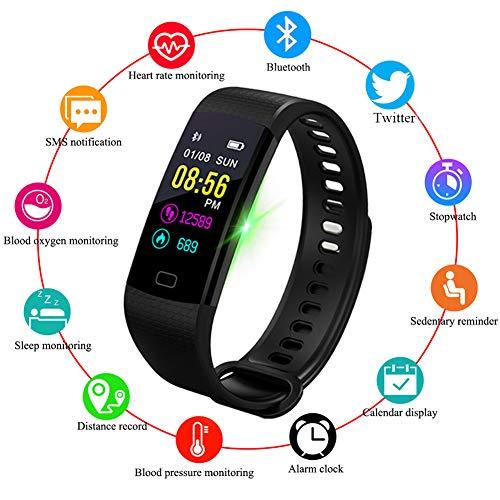 cker,IP67 Wasserdicht Pulsmesser Schlafüberwachung Aktivitätstracker Schrittzähler Kalorienzähler Intelligentes Armband SMS-Erinnerung Kinder Damen Männer ()