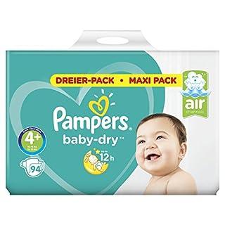 Pampers Baby-Dry Windeln Größe 4+ (10–15 kg), Luftkanäle für atmungsaktive Trockenheit die ganze Nacht, extra saugfähig, Maxi Pack, 1er Pack (1 x 94 Stück)