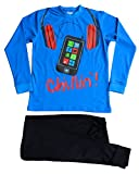 Cool Boy's Chillin!! Mobile Phone Pyjamas 11 to 16 Years Blue Pj PJs (15-16 Years)