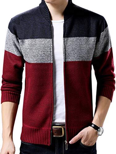 Integrity's Home Herren Kapuzenpullover Winter Fleece Hoodie Pullover Zip Sweatjacke Baumwolle Jacke mit Kapuze Sweatshirt Rotwein XS