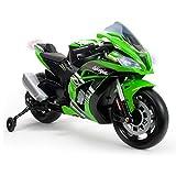 INJUSA Motorrad ZX10 Ninja Kawasaki 12 V mit Licht und Sound, empfohlen ab 3 Jahren, Grün (6495)