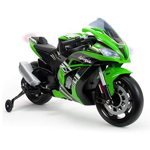 INJUSA Motorrad ZX10 Ninja Kawasaki 12 V mit Licht und Sound, empfohlen ab 3 Jahren, Grün (6495) (Kawasaki Ninja Motorrad)
