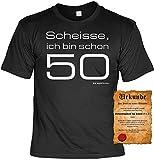 Witziges Geburtstags-Spaß-Shirt + gratis Fun-Urkunde: Scheisse ich bin schon 50