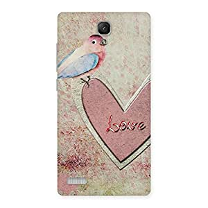 Cute Bird On Heart Print Back Case Cover for Redmi Note 4